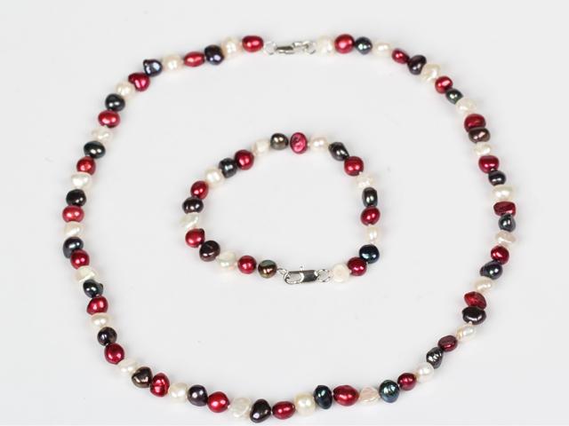 Souprava náhrdelník a náramek 6-7mm bílé, červené a černé říční perly