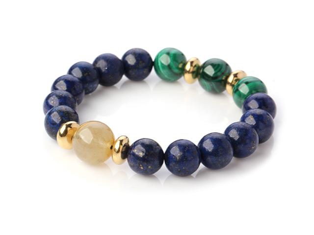 Náramek lapis lazuli, malachit a rutil v křišťálu