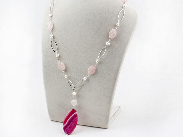 Náhrdelník bílé perly, růženín a přívěsek achát