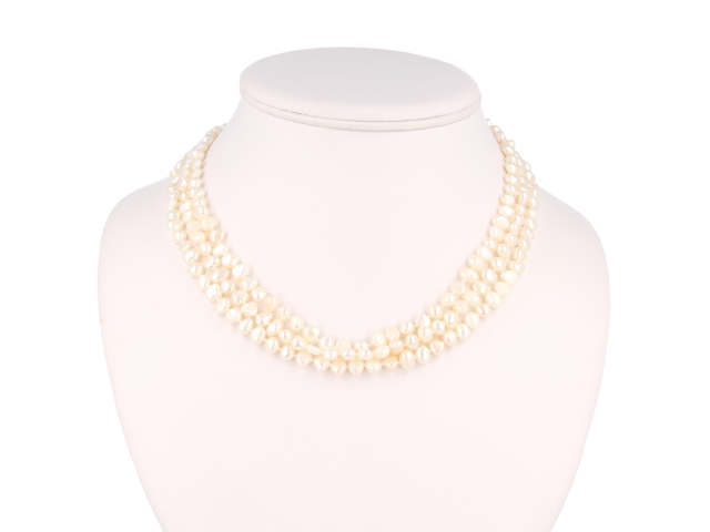 Trojřadý náhrdelník bílé říční perly