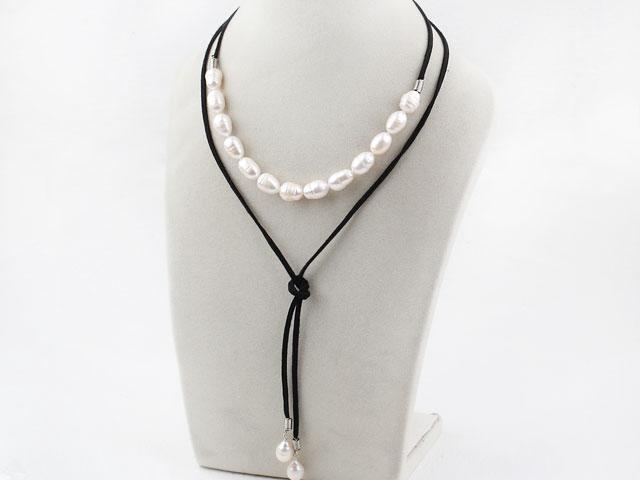 Náhrdelník říční perly na černé šňůrce
