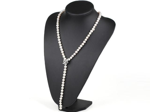 Náhrdelník bílé říční perly ve tvaru Y