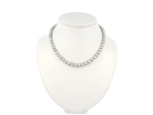 Náhrdelník šedé kulaté 8-9mm říční perly