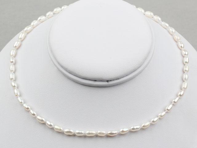 Náhrdelník 3-4mm říční perly ve tvaru rýže