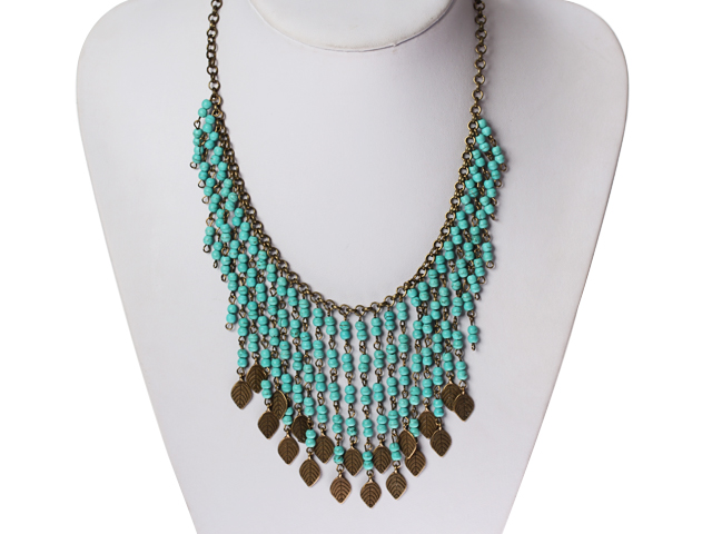 Vintage náhrdelník tyrkenit a bronzový řetízek