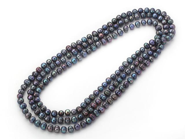 Náhrdelník 8-9mm černé říční perly - 160 cm