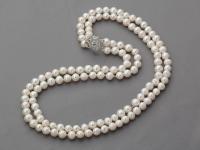 Dvoupramenný náhrdelník 6-7 mm bílé říční perly