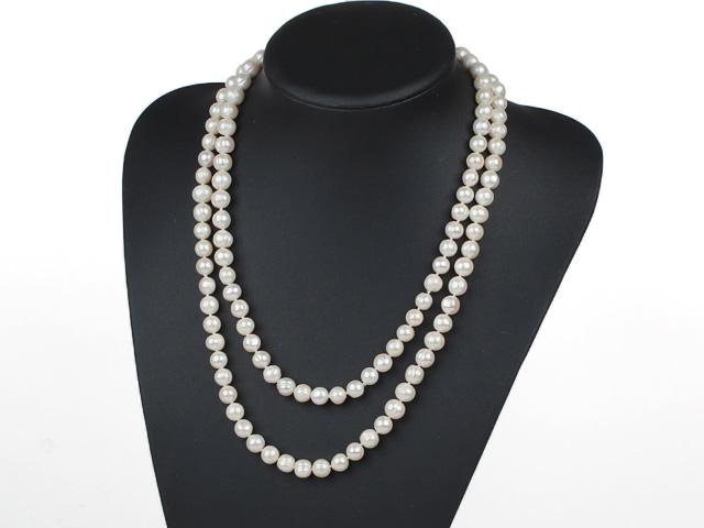 Náhrdelník 9-10mm bílé říční perly - 120 cm