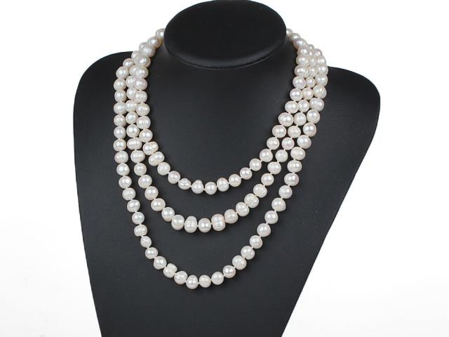 Náhrdelník 10-11mm bílé říční perly - 160 cm