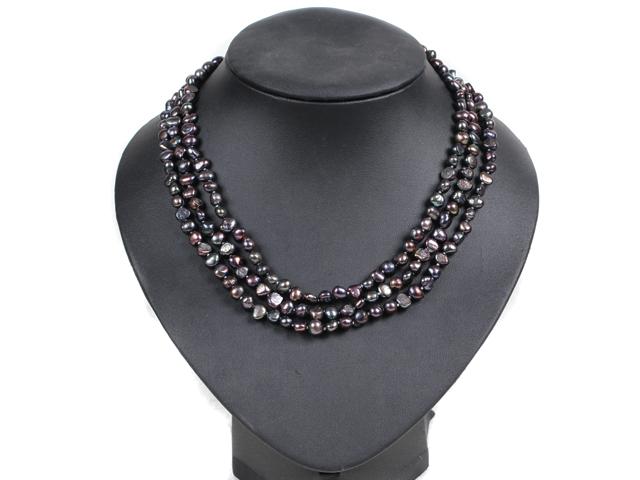 Třípramenný náhrdelník černé říční perly 6-7 mm