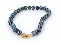 Náhrdelník 11-12mm černé říční perly a pozlacené zapínání - A kvalita