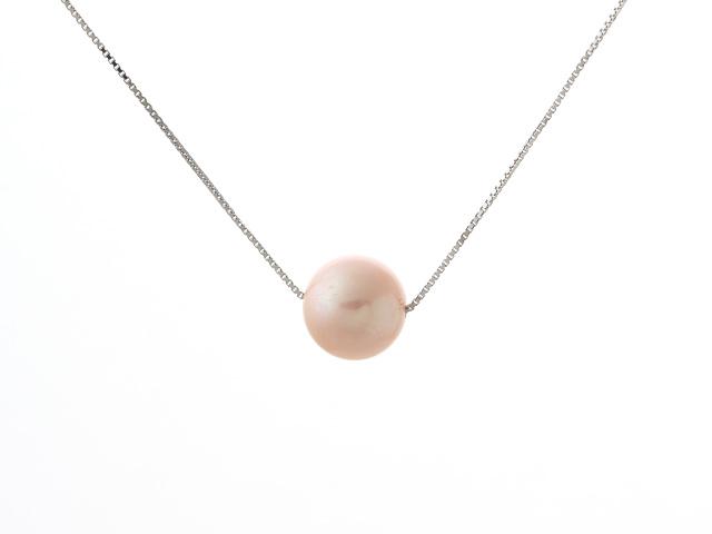 Náhrdelník - stříbrný řetízek Ag925 a 11mm růžová říční perla