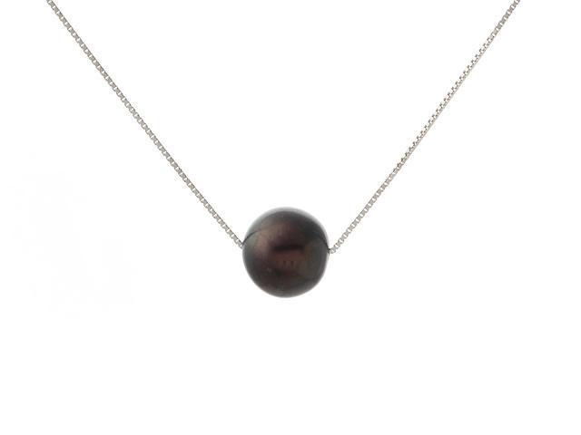 Náhrdelník - stříbrný řetízek Ag925 a 11mm černá říční perla