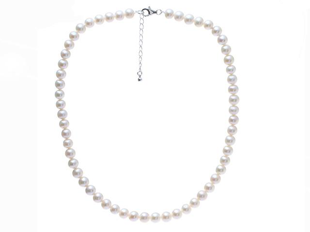 Náhrdelník 7,5-8mm bílé říční perly - A kvalita + Ag925 zapínání