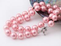 Náhrdelník 10mm růžové shell perly