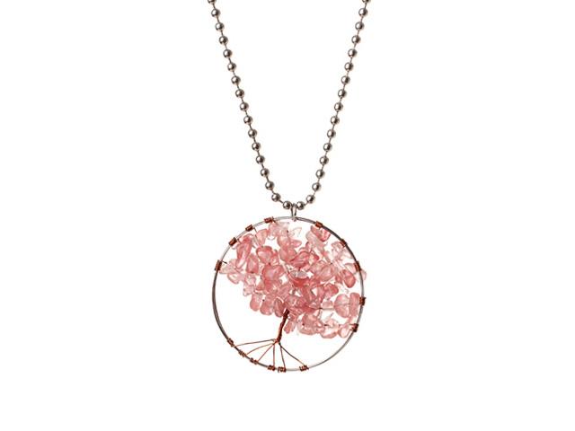 Náhrdelník s přívěskem stromeček - cherry quartz