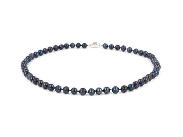 Náhrdelník 7-8mm černé říční perly