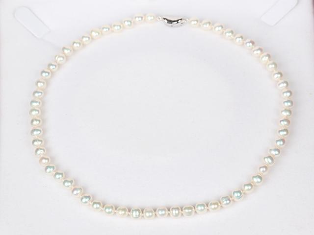 Náhrdelník 6-7mm bílé říční perly