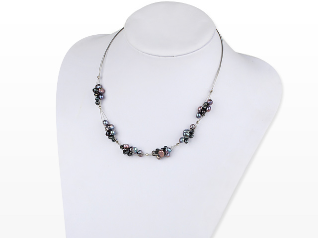 Náhrdelník černé říční perly
