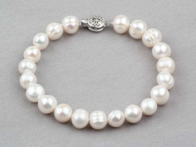 Náramek bílé 9-10mm říční perly