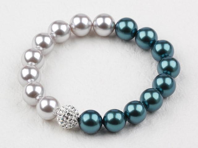 Náramek paví modré a šedé shell perly a CZ kříšťál