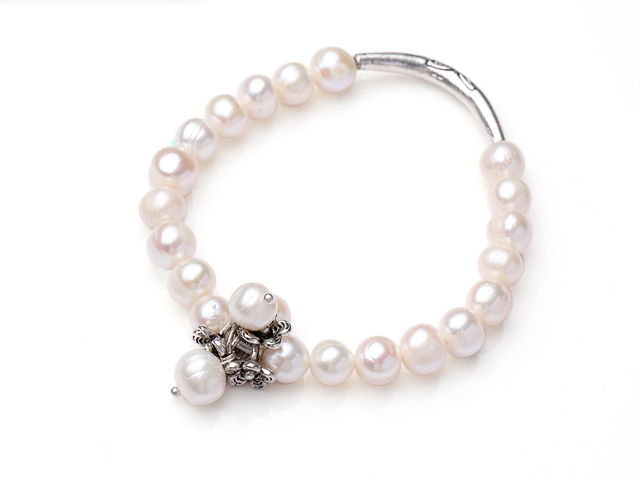 Náramek 8-9mm bílé říční perly a přívěsek