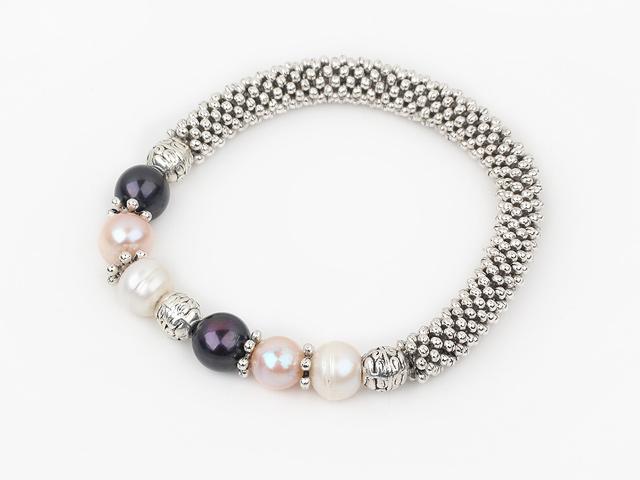 Náramek bílé, růžové a černé říční perly
