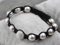 Shamballa náramek šedé shell perly a CZ křišťál