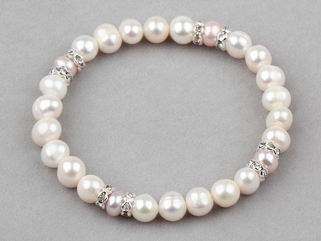 Elastický náramek bílé a růžové říční perly