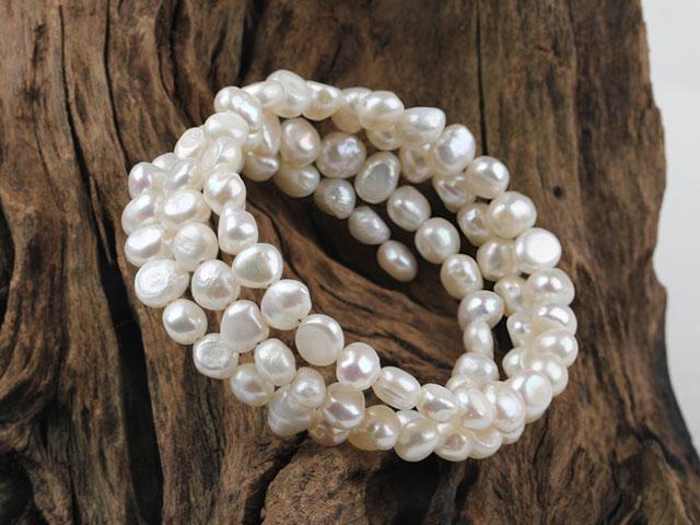Víceřadý náramek bílé říční perly