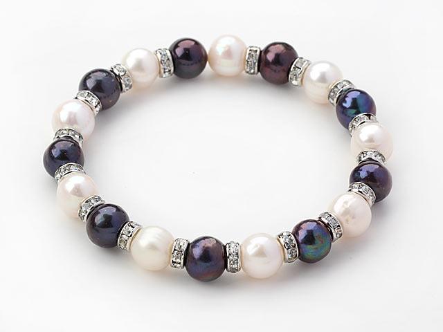 Náramek bílé a černé říční perly a křišťál