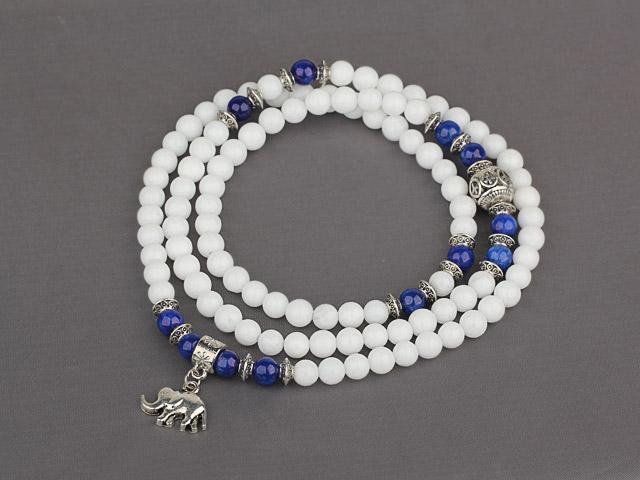 Náramek bílý jadeit a lapis lazuli s příveskem slona
