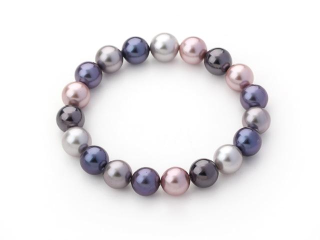 Náramek vícebarevné shell perly 10 mm