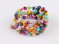 Víceřadý náramek vícebarevné říční perly