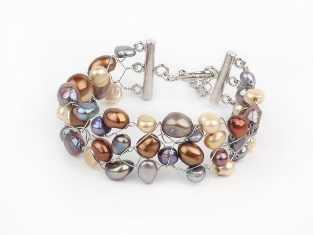 Široký náramek vícebarevné říční perly