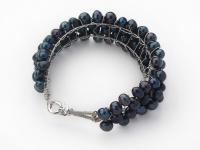 Čtyřřadý náramek černé říční perly