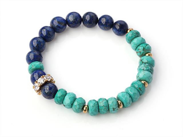 Náramek zelený tyrkenit, lapis lazuli a křišťál