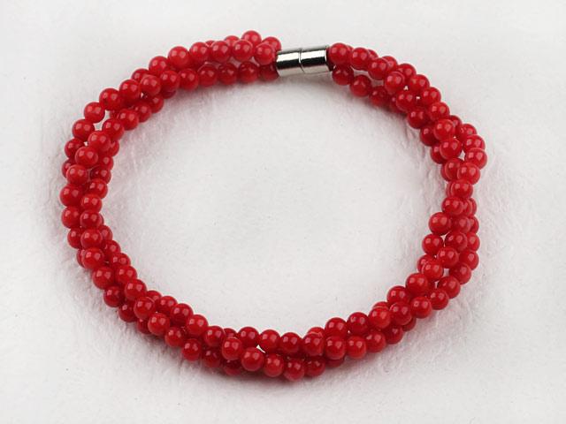 Náramek červený korál - 4mm kuličky