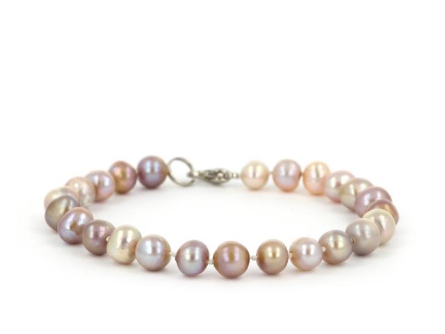 Náramek fialové říční perly 7-8 mm