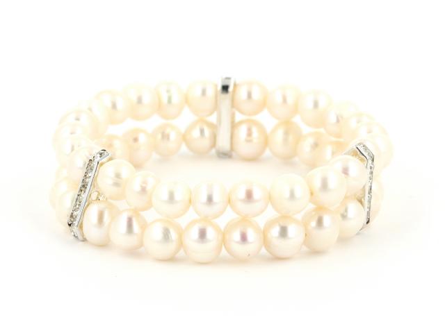 Dvojřadý náramek bílé říční perly s křišťály