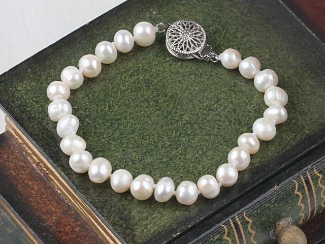 Náramek 6-7mm bílé říční perly