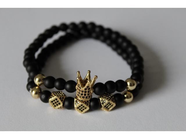 Set náramků -  černo/zlatý onyx
