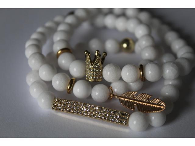 Set náramků - Princess - bílý jadeit