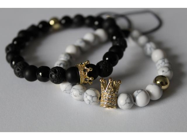 Set náramků Queen and King - onyx, lávový kámen a bílý tyrkys