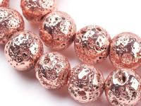 Lávový kámen pokovený růžovo-zlatý 10mm
