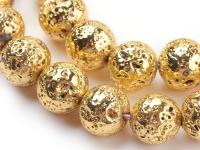 Lávový kámen pokovený zlatý 10mm