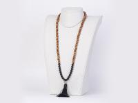 Buddha náhrdelník matný onyx a dřevěné korálky se střapcem