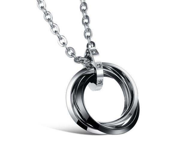 Ocelový náhrdelník Circles - gunmetal