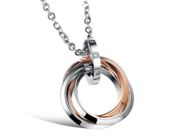 Ocelový náhrdelník Circles - růžovo-zlatý
