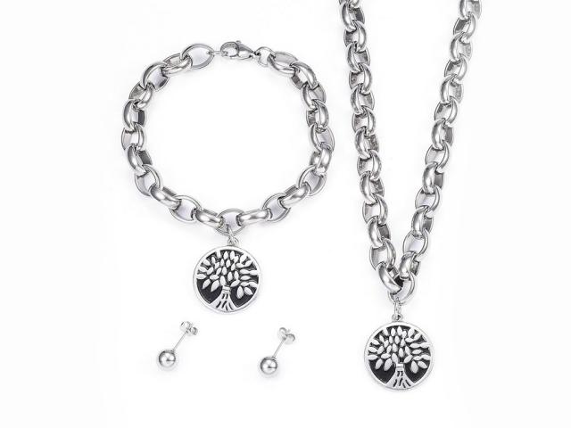 Ocelová souprava náhrdelník, náramek a náušnice - strom